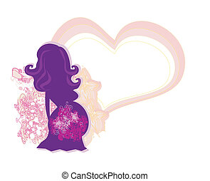 The pregnant girl in a flower, abstract background