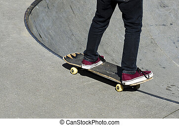 Skateboarding - Recreation and Sport - Young man...