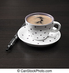 coffee cup and  e-cigarette on table