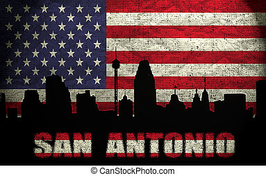 View of San Antonio City on the Grunge American Flag