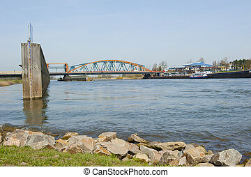 Old IJssel railway bridge and adjacent road bridge combined...