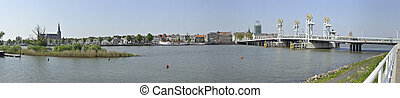 Panoramic view of the city Kampen, the Netherlands -...