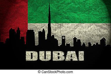 View of Dubai on the Grunge United Arab Emirates Flag