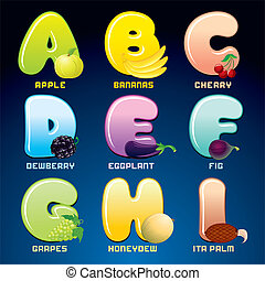 Fruits And Berries In Alphabetical Order. Cartoon...