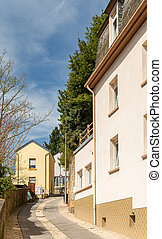 Steep narrow street in Luxembourg city