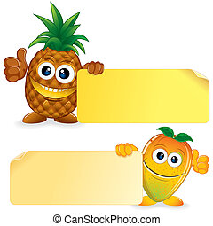 Pineapple with Mango Cartoon Illustration - Pineapple and...