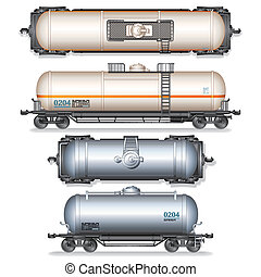 Isolated Railroad Oil Tanks Illustration