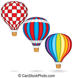Hot Air Balloons with Woven Gondola Colorful Illustration...