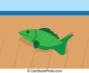 Fish Out Of Water  - Fish on wooden deck out of water