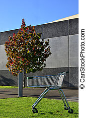 Empty shopping cart - An empty shopping cart outside a...