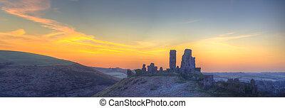 Corfe Castle Winter sunrise pre-dawn colourburst. - Winter...