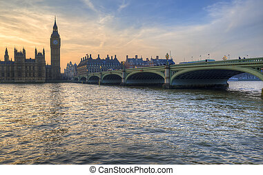 Big Ben and Westminster Bridge during Winter sunset.
