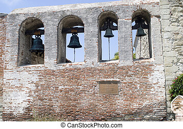 The bell tower at an old Spanish mission.