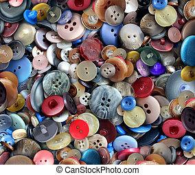 grupo, de, viejo, botones