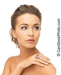 mulher, um, coquetel, anel
