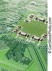 verde, eléctrico, circuito, tabla, microchips,...
