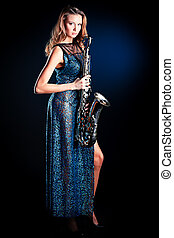 jazz performer - Portrait of a sexual young woman posing...