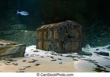 Underwater Treasure - Underwater treasure chest box site on...