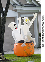 An out of doors Halloween decoration.