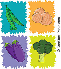 Veggies - Stylized squares with peas,onions,eggplant and...