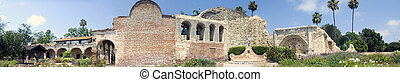 A panoramic image of Mission San Juan Capistrano