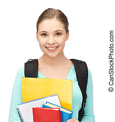student with books and schoolbag - bright picture of smiling...