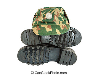 Army boots and cap isolated on white background