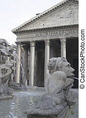 Pantheon - The Pantheon in Rome with the famous fountain