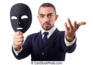 hombre, máscara, aislado, blanco