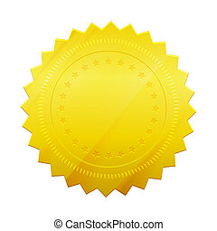 Gold Seal - Vector Blank gold token seal isolated on white...