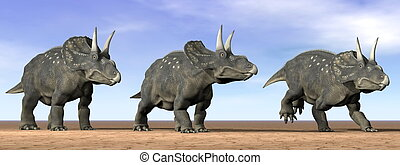 Diceratops dinosaurs in the desert - 3D render - Three...