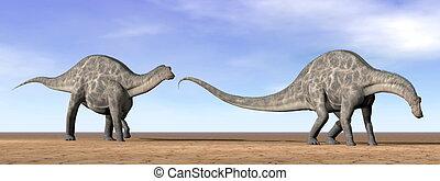 Dicraeosaurus dinosaurs in the desert - 3D render - Two...