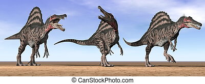 Spinosaurus dinosaurs in the desert - 3D render - Three...