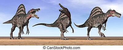 Spinosaurus dinosaurs in the desert - 3D render - Three...