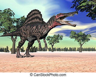 Spinosaurus dinosaur in the desert - 3D render - One...