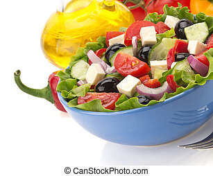 salad in bowl on white - salad in bowl isolated on white...
