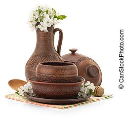ceramic utensils on white - ceramic utensils isolated on...