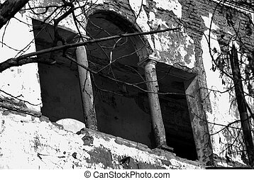 window of a collapsed building