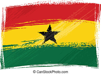 Grunge Ghana flag - Ghana national flag created in grunge...