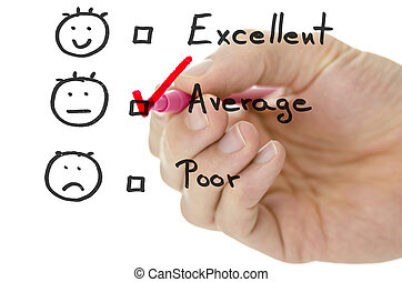 Customer service evaluation form with tick on average -...