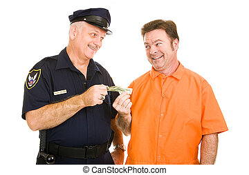 Policeman Accepts Bribe - Police officer accepts cash bribe...
