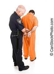 policial, algemas, prisioneiro