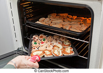 Italian cookies cantucci - Baking in the oven of italian...