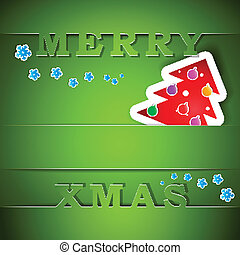Merry Xmas green card with tree eps10 vector illustration