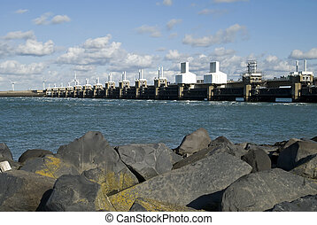 Storm surge barrier in Zeeland, Netherlands Build after the...