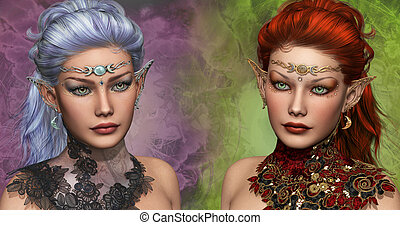 Two female Elven - double portrait of two female elven with...
