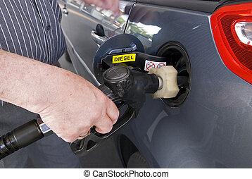 Fuel pump - Close-up of a man�s hand using a petrol pump...
