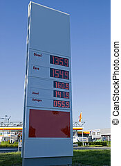 Petrol prices - Gas prices sign by a gas station in the...