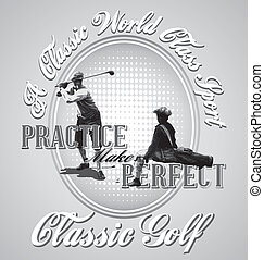 golf practice - illustration for shirt printed and poster