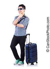 Young guy with travel case on white